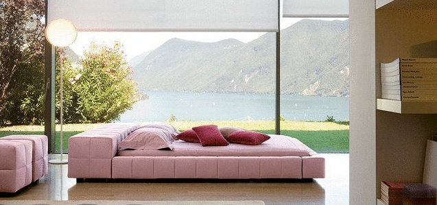 Double bed in wooden frame upholstered with leather or cloth isola alta squaring trait bonaldo - Characteristics of contemporary platform beds ...
