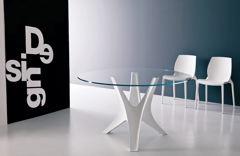 Dining table round with glass top, King, Bontempi Casa