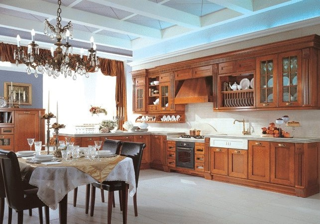 The kitchen is finished with veneer wood Opera, Aster Cucine