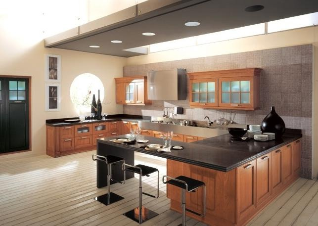 Kitchen with a frame made of mdf and finished veneer wood for Aster cucine kitchen cabinets