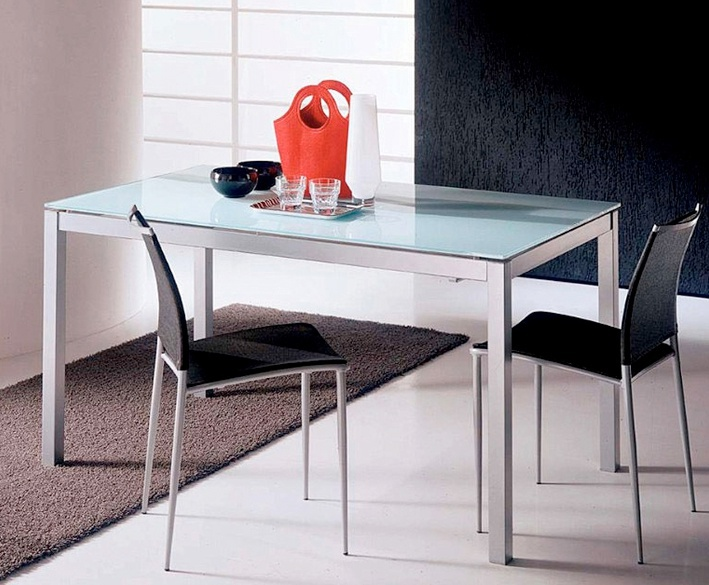 Dining Table Sliding On Steel Frame With Glass Top Mago Bontempi