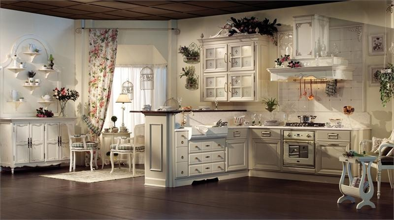 Kitchen with wooden case and marble top Florence 4, Arcari