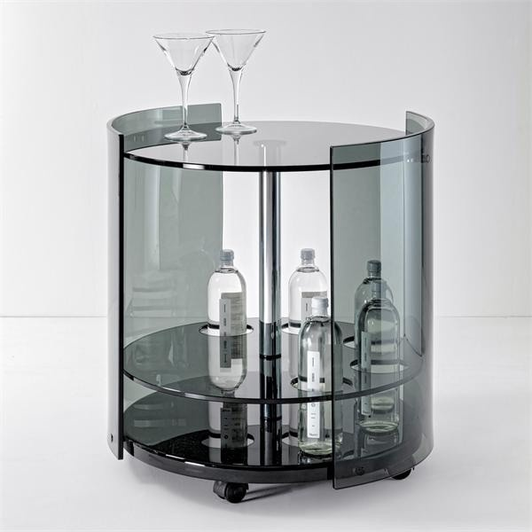 55cm Diameter Adjustable Height 60 75 Cm Coffee Table: Bar Table With Side Panels And Top Glass 6000 Fume, Reflex