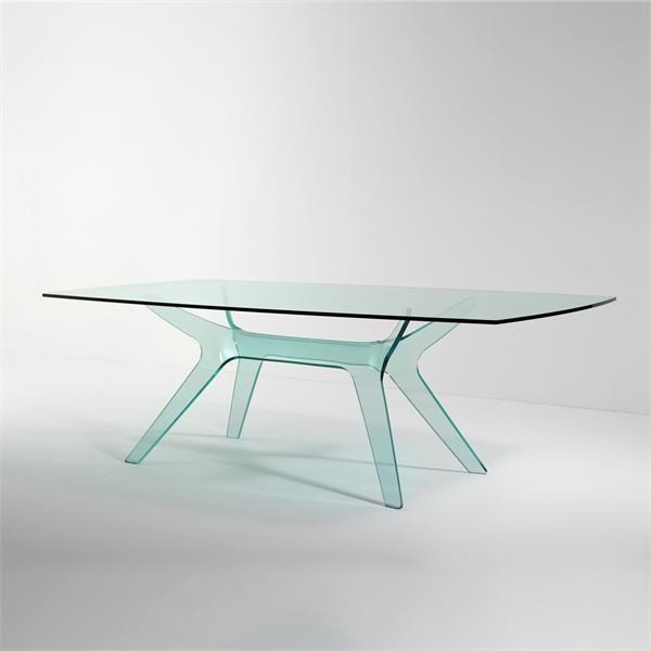 Dining table with frame and top made of glass Alce, Reflex Angelo