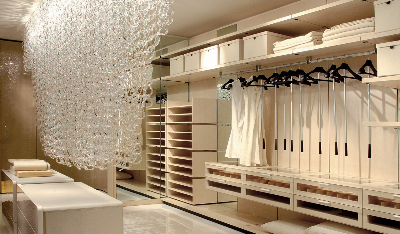 Walk-in closet with a frame made of chipboard, veneered Open wall-panel,  Besana