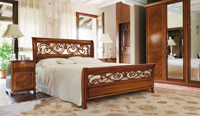 Double bed solid high carved footboard and headboard, Alf - Luxury ...