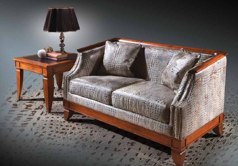Two seater sofa in leather upholstery, Angelo Cappellini