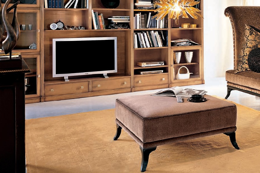 Pouf with fabric upholstery C664, Bizzotto