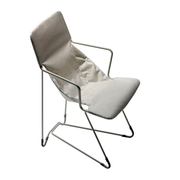 chair with frame of steel tubes and coated textile fabrics from