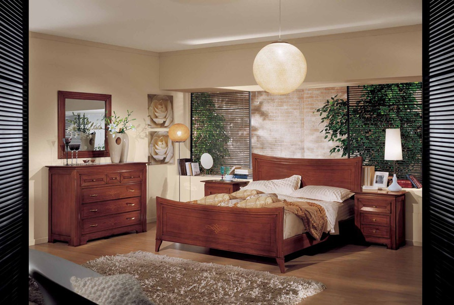 Bedroom suite wood with carved headboard