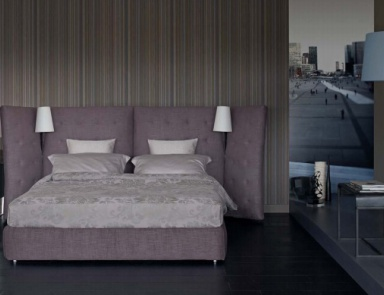 Double bed frame solid wood with high headboard baroque for Turri arredamenti