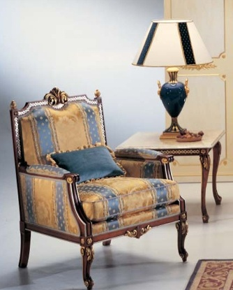 A chair on a frame of wood covered with a cloth Brunei, Caspani Tino