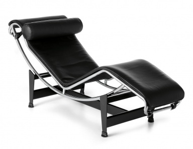Deck chair on a frame of chrome-plated steel LC4, Cassina