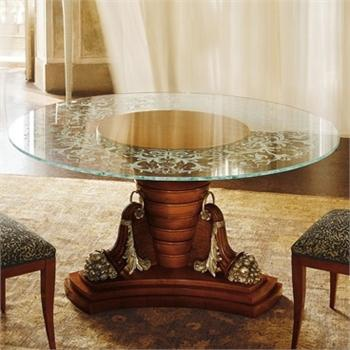 Dining Table With Glass Top On A Large Stem Colombo Mobili