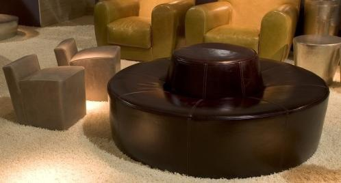 Round pouf leather Baby Atollo Graz, Baxter