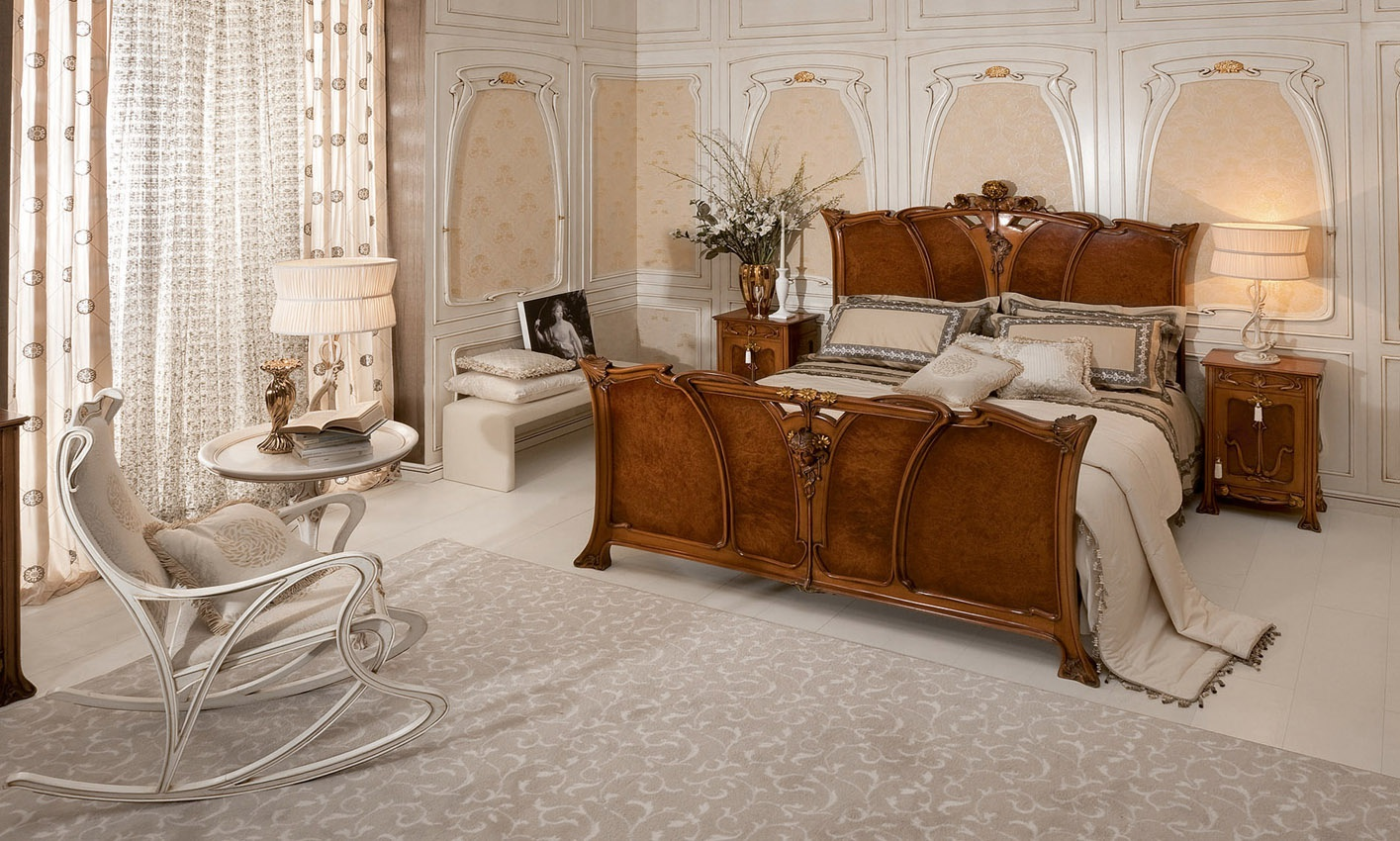 Bed with high headboard by Liberty, Medea