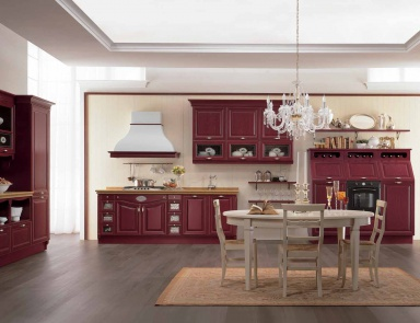 Kitchen (kitchen Set) Made Of Solid Wood Color Bordeaux Sintonia, Aster  Cucine (