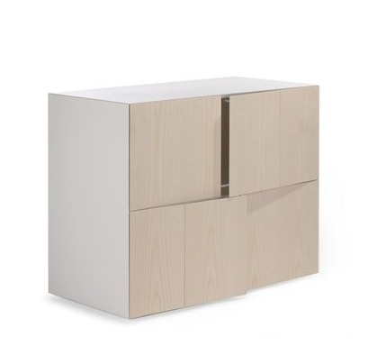 The modular storage system of wood with legs in chromed steel AD Box Doors, Accademia