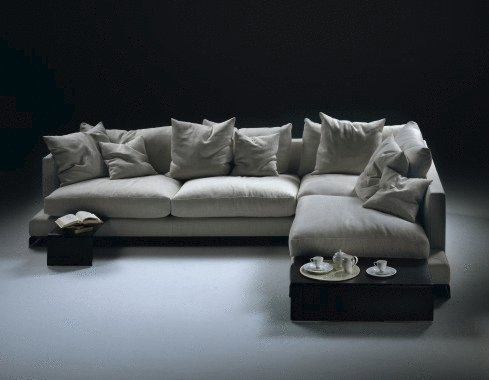 Modular corner sofa upholstered in leather or fabric Long Island, Flexform