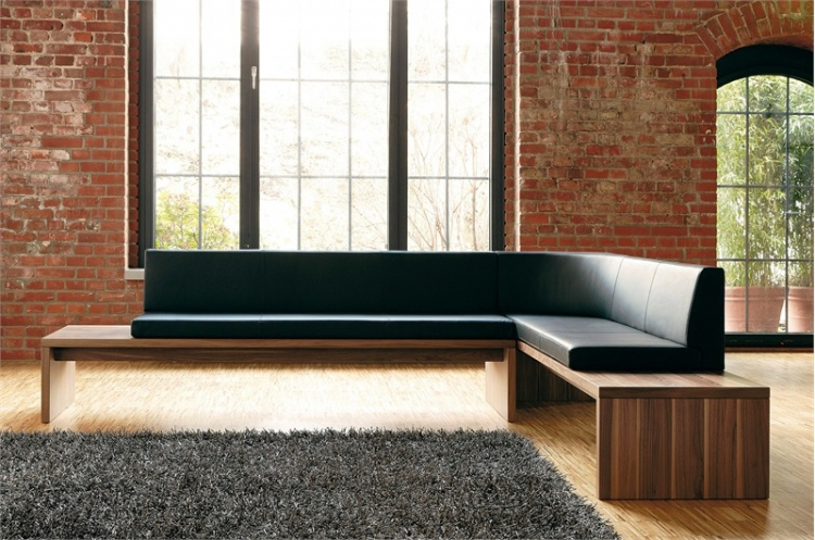 Modular corner sofa upholstered in leather or cloth D 15, Huelsta