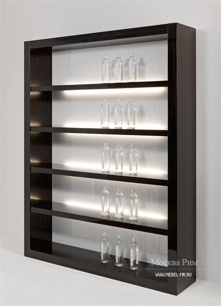 Rack with wooden frame and back panel made of glass Avantgarde, Reflex Angelo
