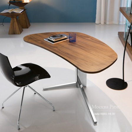Desk on the basis of steel with the top made of glass or wood Island, Cattelan Italia
