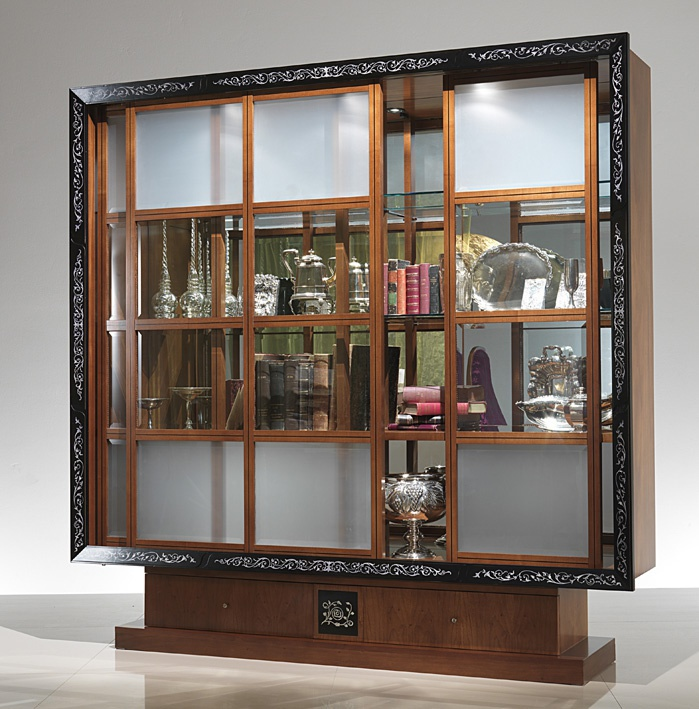 A display Cabinet made of solid wood inlaid with mother-of-pearl, Carpanelli