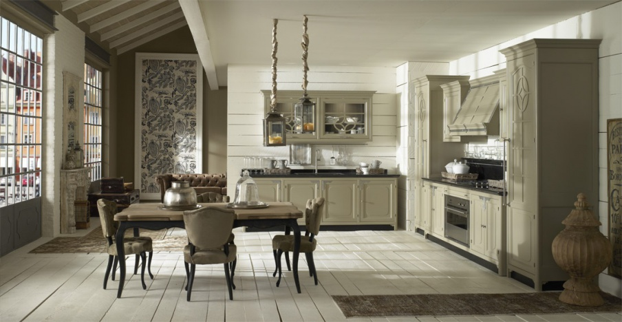 Marchi Group Cuisine kitchen (suite kitchen) with worktop from artificial stone