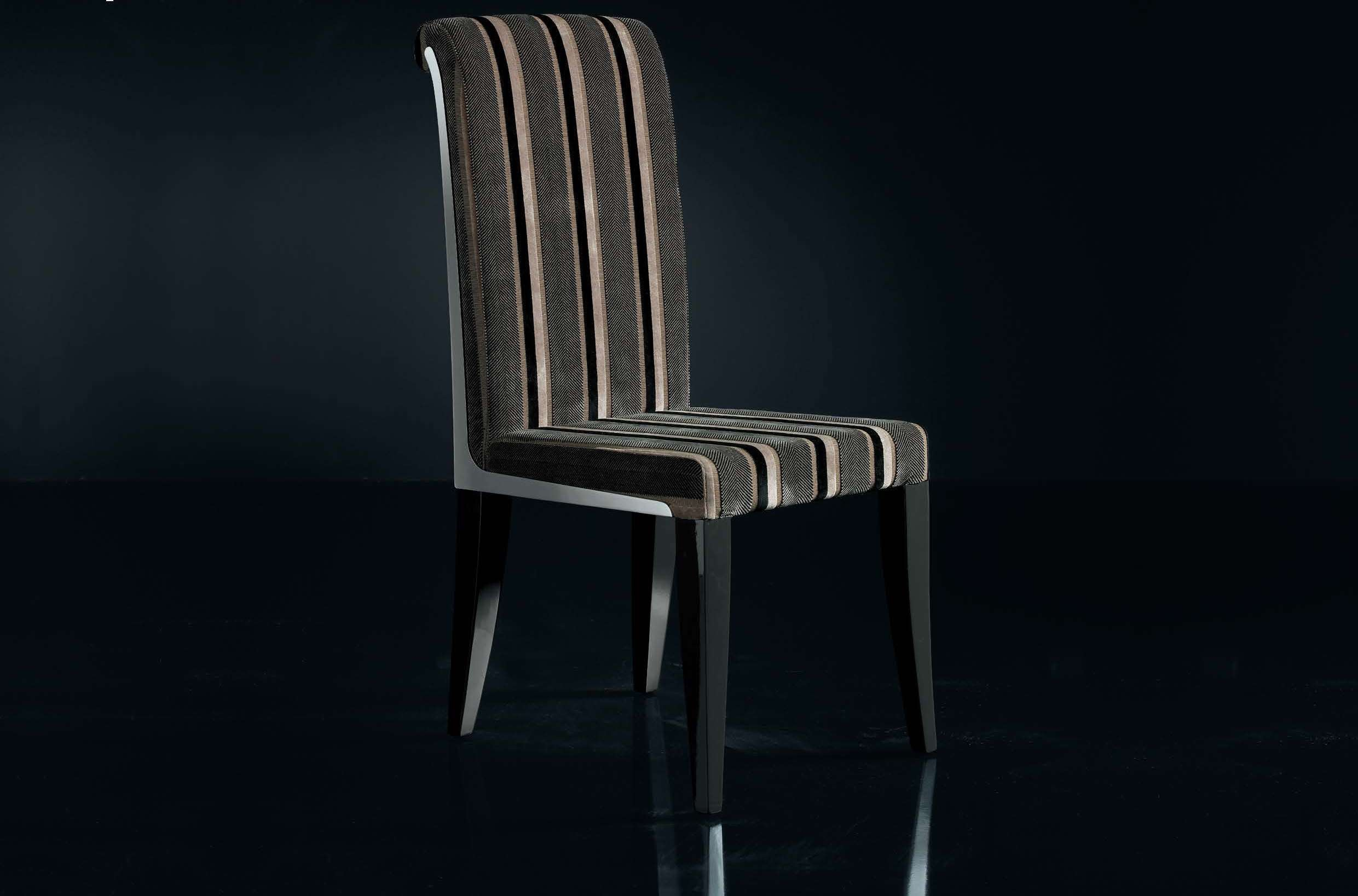 Chair With High Backrest Upholstered In Fabric Or Leather Kelly Noir Luxury Furniture Mr
