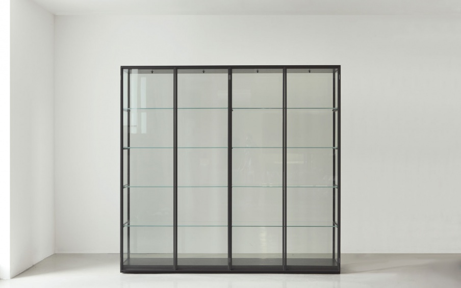 rack with glass shelves ex libris with a metal frame porro luxury furniture mr. Black Bedroom Furniture Sets. Home Design Ideas