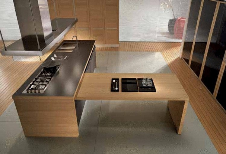 Set for the kitchen finished with oak veneer Integra, Pedini