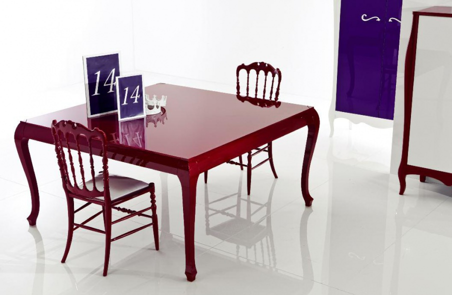 Square Table Made Of Solid Wood Lacquer Processing New