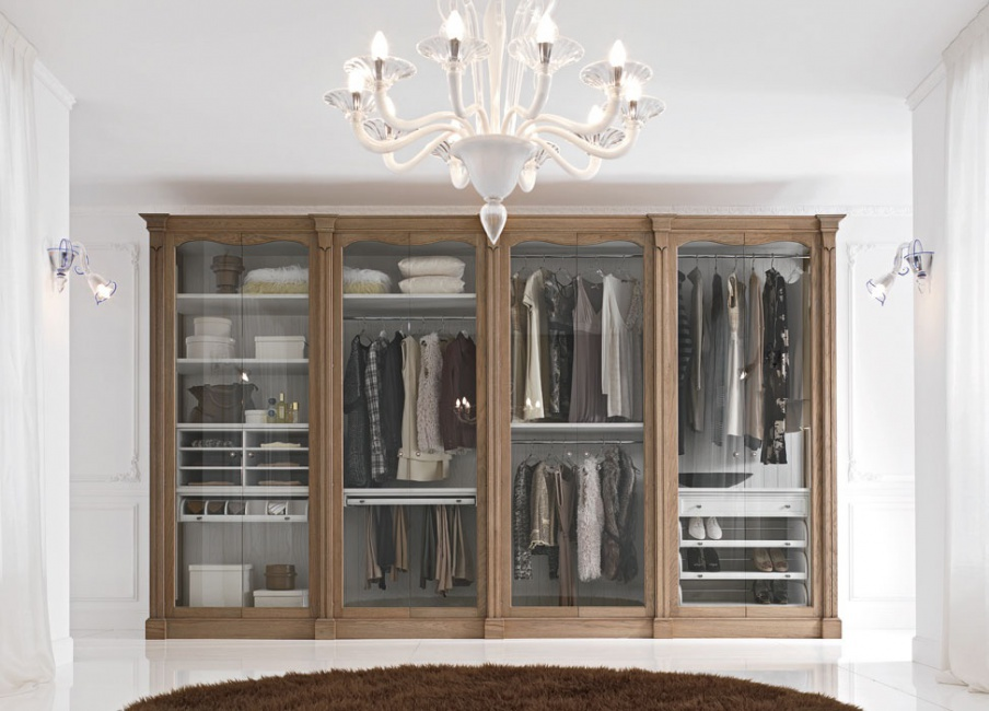 Wardrobe made of natural wood with glass doors Evo, FM Bottega D ...