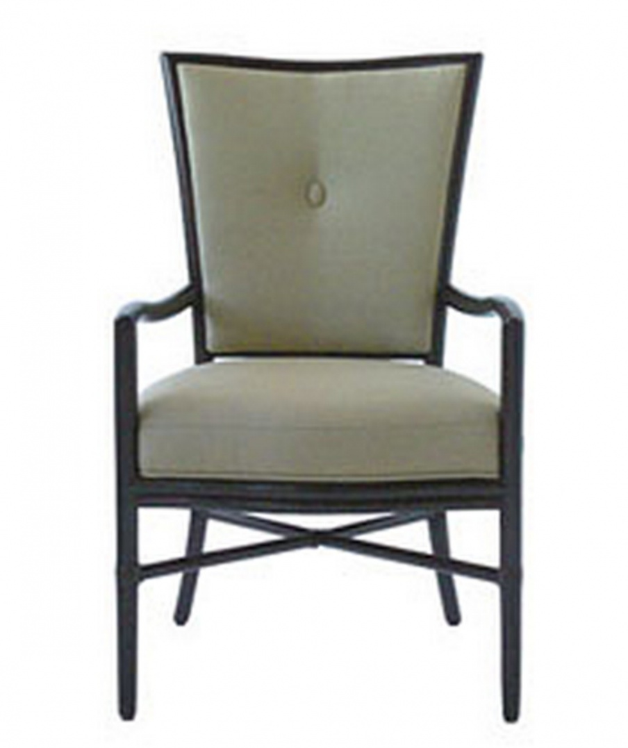 Chair with armrests in a light fabric Barbara Barry