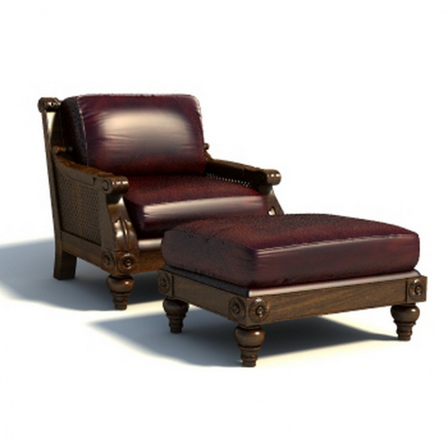Chair With Ottoman In Leather Finish Barbara Barry Luxury