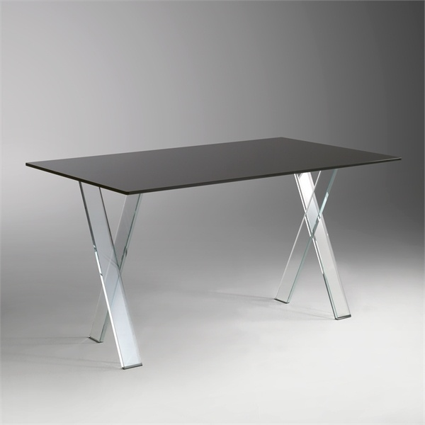 Writing table on X-shaped legs of extraprostatic glass, Mister X Desk -  Reflex Angelo
