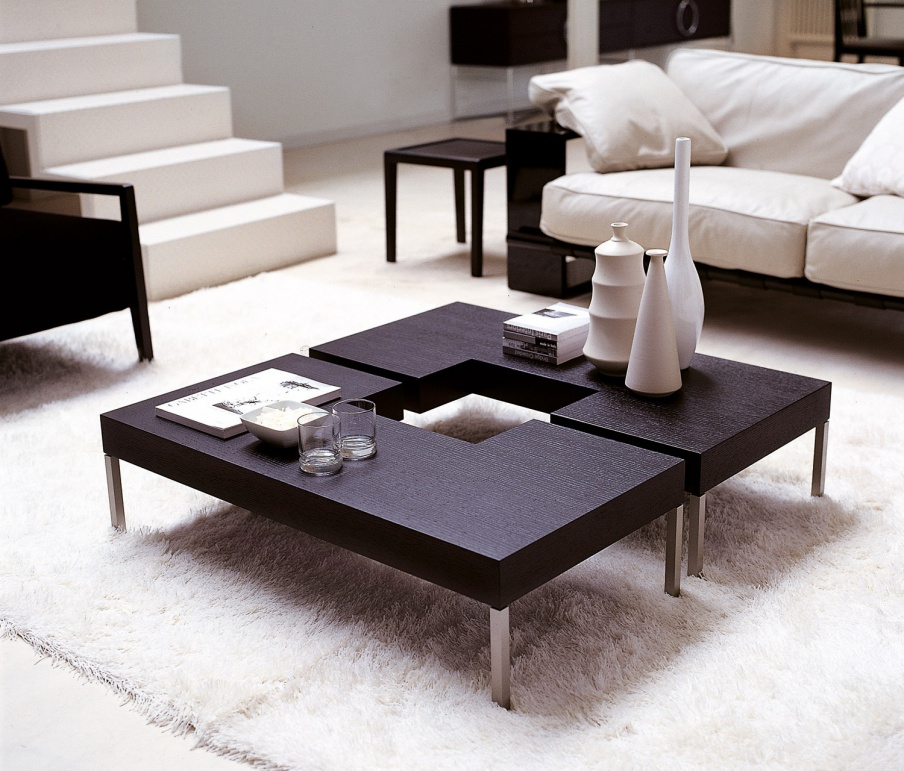 Puzzle Coffee Table Wood With Metal Legs Porada Luxury Furniture Mr