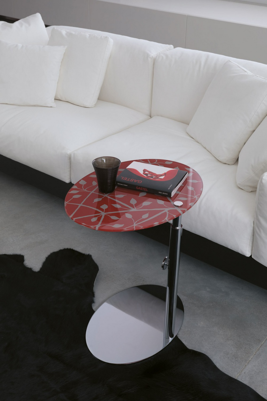 Coffee Table On An Adjustable Leg With Glass Top Side Porada Luxury Furniture Mr