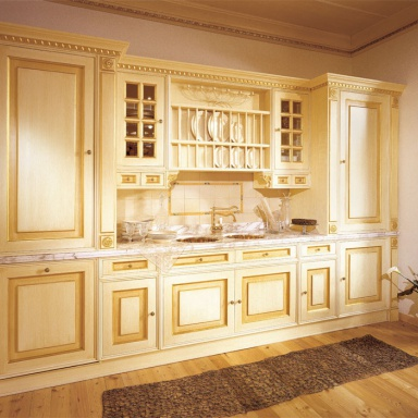 Set for the kitchen made of solid wood with the island for Kitchen set royal