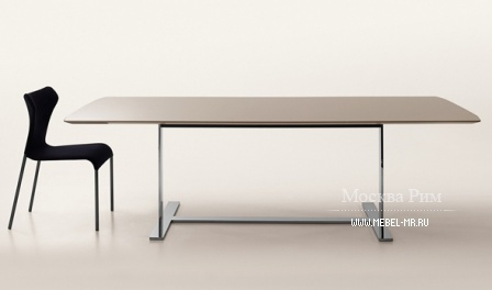 Dining table with base in steel and table top of MDF or mirror glass Eileen, B&B Italia