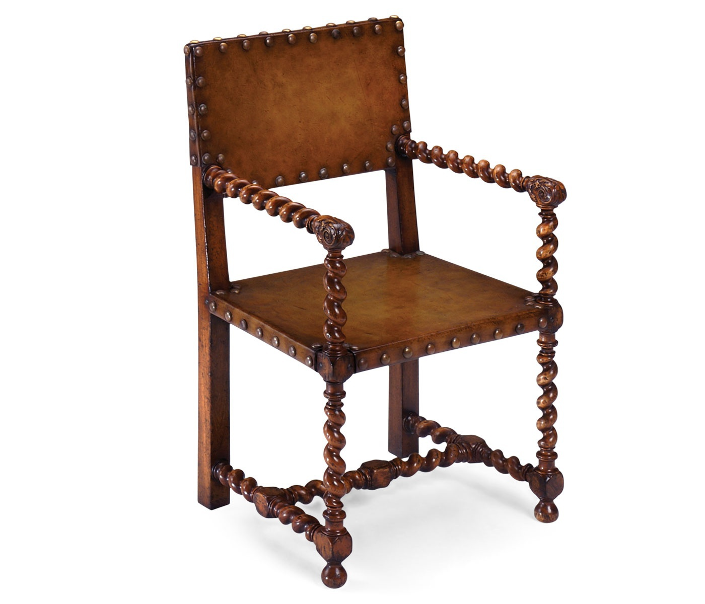 Chair with armrests and leather upholstery Tudor Jonathan