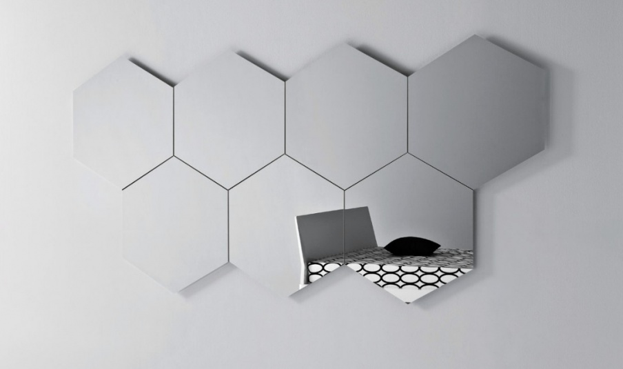 Wall Mirror Hexagonal Shape Geometrika Esagonale Pianca