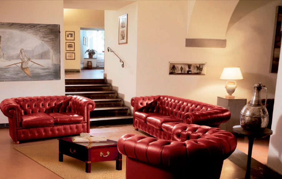Living Room Sofa Set In A Red Tone Chester Caroti Luxury Furniture MR