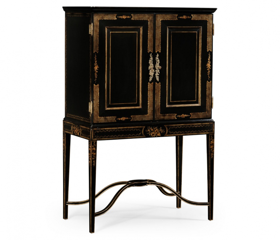 Small Bar Cabinet In Black Color With Golden Decor