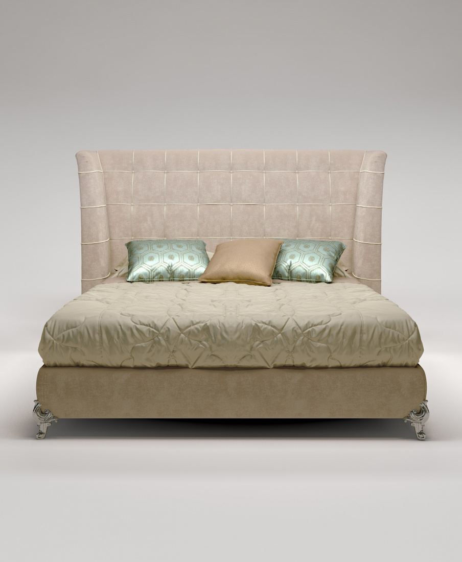 Double Bed With Upholstered Headboard King Frame Made Of Solid Wood Bruno Zampa Luxury Furniture Mr