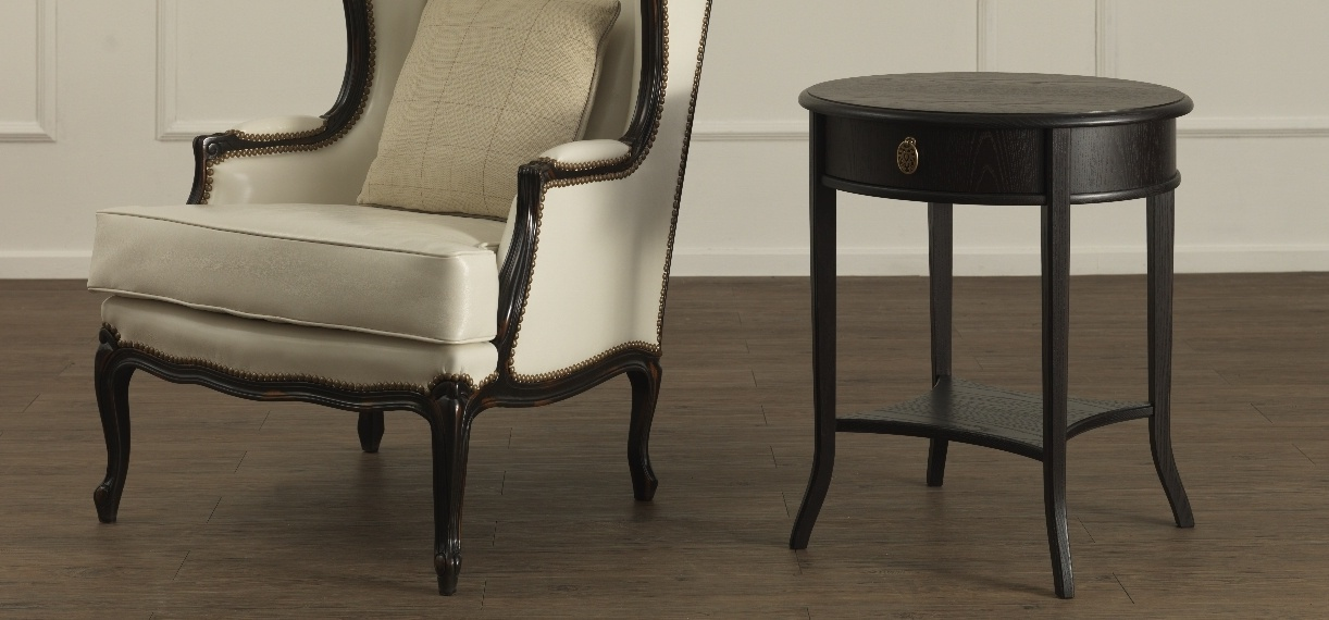 Round Coffee Table With Drawer Marcello With A Frame Made Of Ash Galimberti Nino Luxury