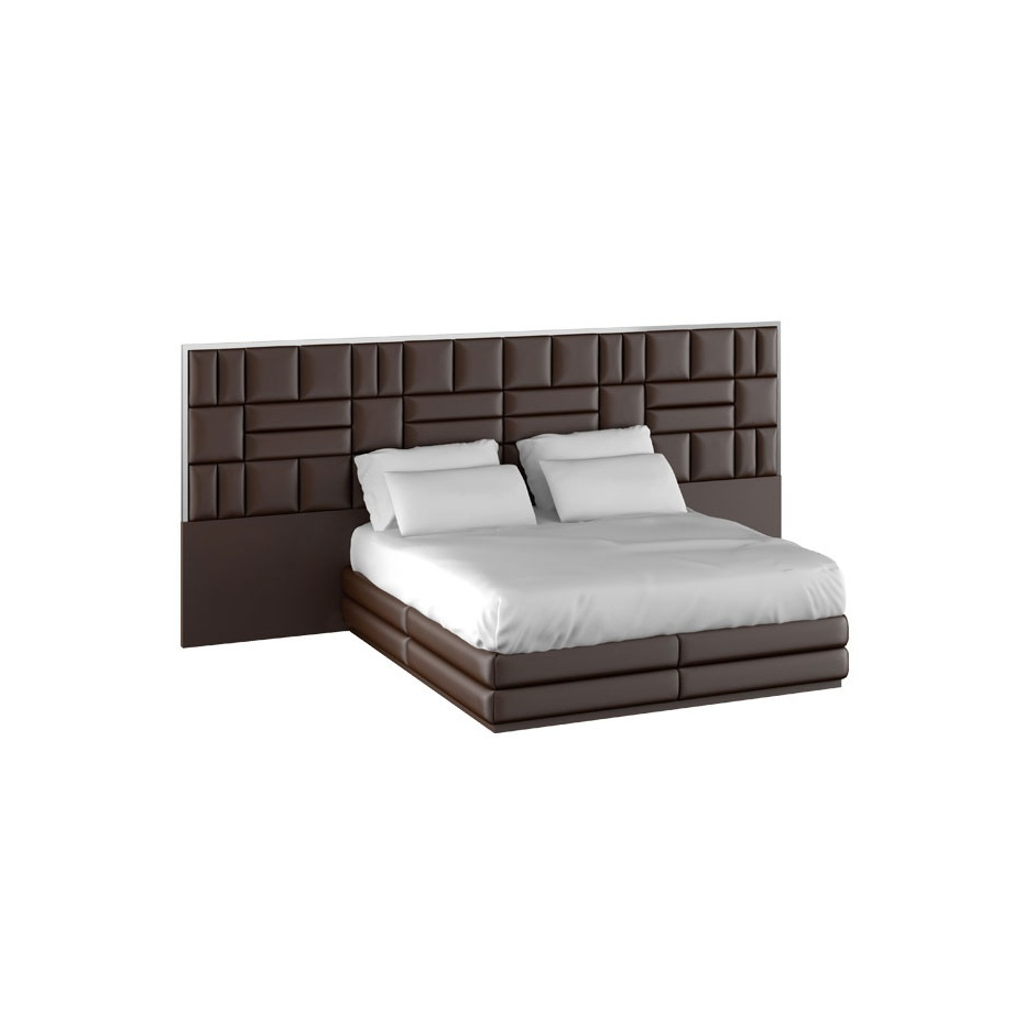 A Double Wide Bed With Upholstered Headboard Caesar Train