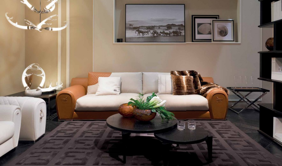 Four Seater Sofa In Varenne Leather Upholstery Fendi Luxury Furniture Mr