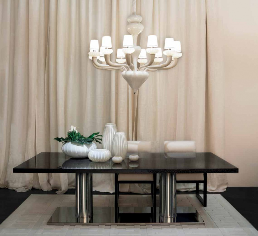 Bernini Dining Table With Frame Of Chromed Metal Fendi