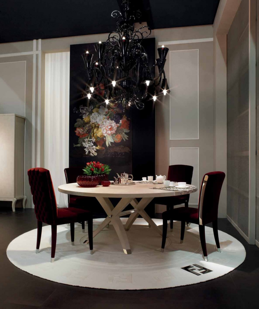 Brunello Dining Table With Round Wooden Top Fendi Luxury Furniture Mr